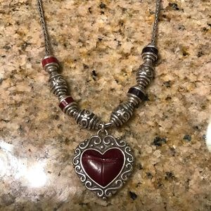 Brighton Beaded Necklace With Red Heart Pendant